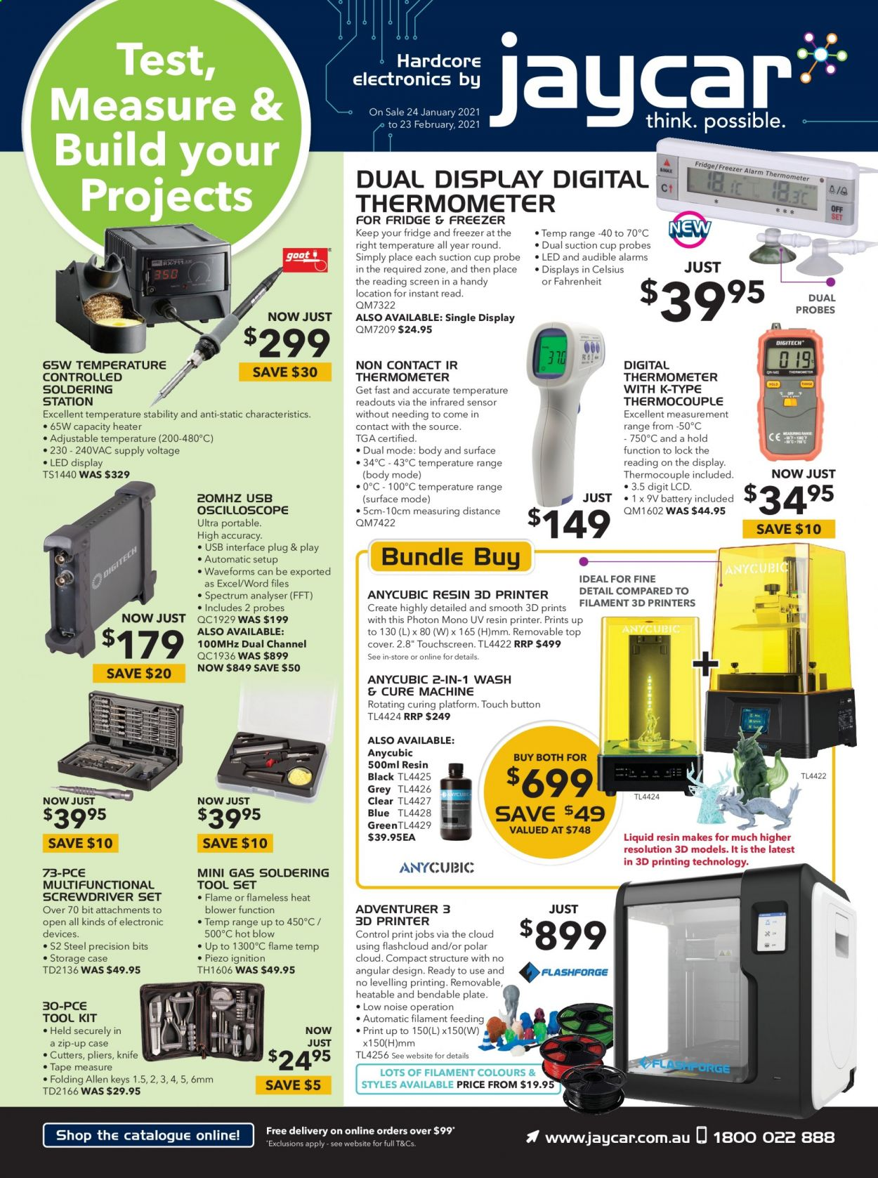 Jaycar Electronics Catalogue - 24.1.2021 - 23.2.2021 - Sales products - alarm, oscilloscope, printer, 3D printer, heater, screwdriver, pliers, tool set, tools, soldering station, thermometer. Page 1.
