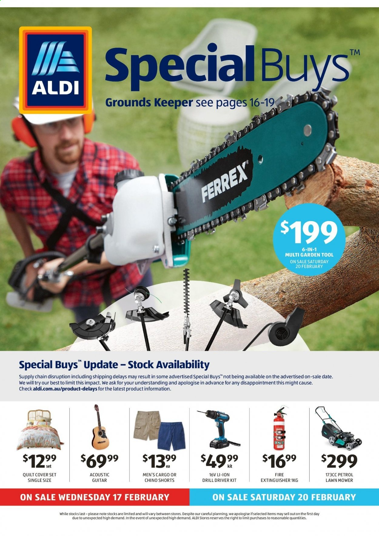 ALDI Catalogue - 17.2.2021 - 23.2.2021 - Sales products - tools, extinguisher, guitar, quilt, quilt cover set, shorts, drill, drill driver kit, lawnmower, lawn mower, multi garden tool. Page 1.